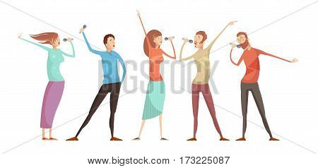 Set of five isolated male and female young people characters gesticulating and singing karaoke party songs vector illustration