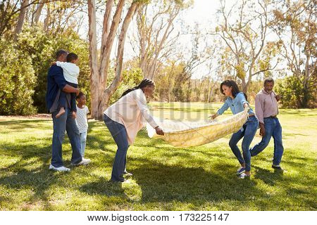 Multi Generation Family Going On Picnic In Park Together