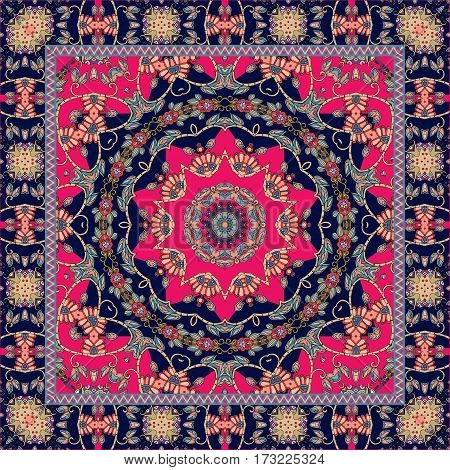 Carpet. Tablecloth. Shawl. Bandana. Vector. Boho style. Pillowcase.