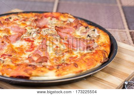 Delicious Pizza With Ham Cheese Mushrooms