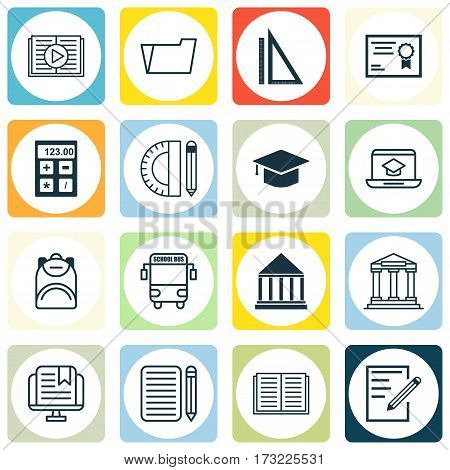 Set Of 16 Education Icons. Includes Document Case, Home Work, Education Tools And Other Symbols. Beautiful Design Elements.