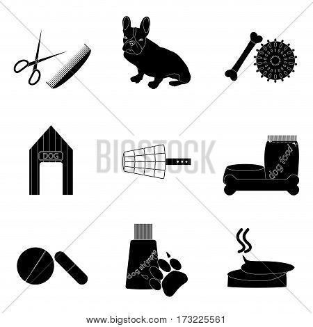 Black silhouette icons set pet care. Kennel and food for dog vector illustration