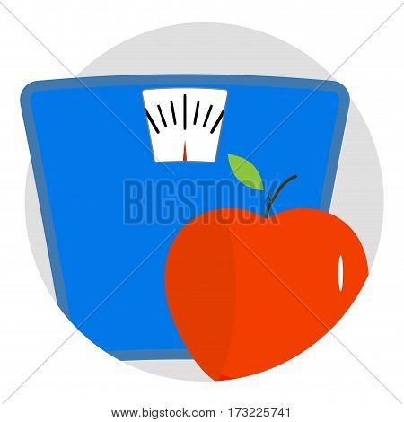 Diet icon app vector. Lose kilogram with fitness. Vector illustration