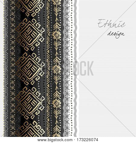 Tribal ornament with ethnic seamless vertical border striped seamless pattern. Geometric hand drawn background. Vector illustration stock vector.
