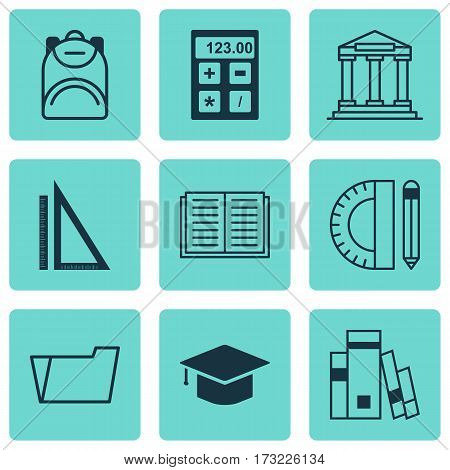 Set Of 9 Education Icons. Includes Haversack, Education Tools, Library And Other Symbols. Beautiful Design Elements.