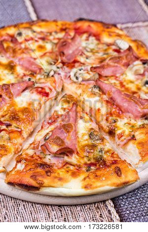 Flay Lay View Pizza With Ham Cheese Mushrooms