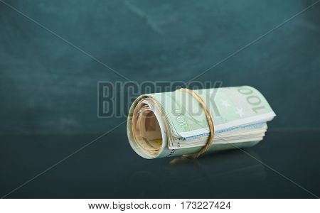 Background of banknotes. Euro banknotes 50 fifty. Money background