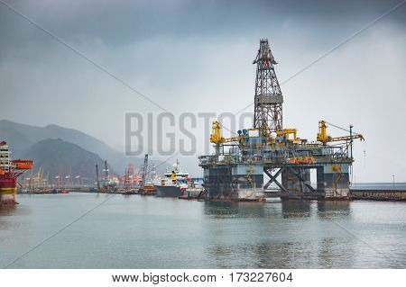 SANTA CRUZ DE TENERIFE SPAIN - 12.02.2017: Gas and oil rig platform in the port of Santa Cruz de Tenerife in Tenerife Canary Islands Spain.