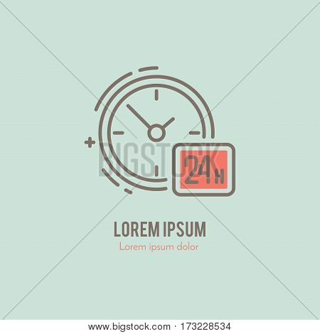 Modern line style logo for delivery company or around the clock service. Isolated design element. Clean and modern label for a shop, service or company.