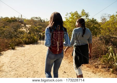 Rear View Of Mother And Adult Daughter Hiking In Countryside