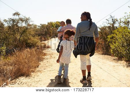 Grandparents And Grandchildren Walk In Countryside Together