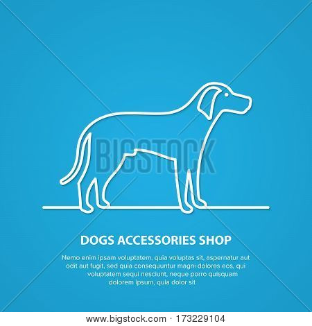 Vector outline dog silhouette on white background. Dog accessories shop logo.