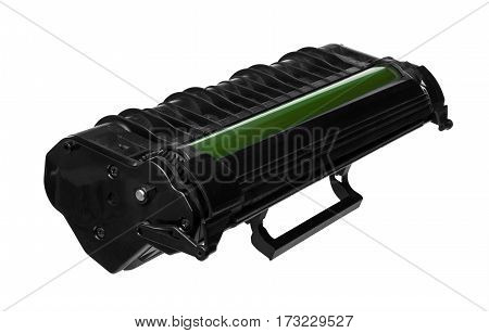 Laser cartridge with green drum isolated on white background. Side view.
