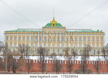 MOSCOW - February 24, 2017 View from the Sofia embankment on the Big Kremlin Palace. Moscow Kremlin . Beautiful scenery on the background of the cloudy sky.