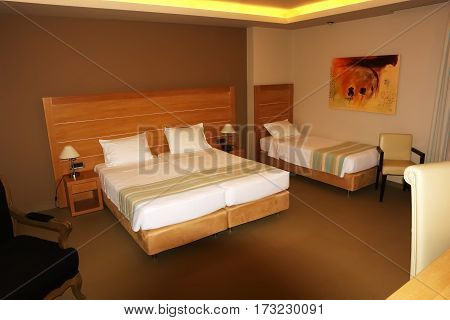 Sivota Greece - May 09 2013: Interior room with a large bed in a modern Greek hotel.