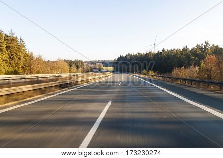Ttraffic on highway fast cars traveling on the highway abstract speed transportation background