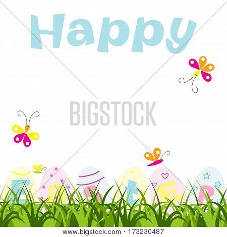 Happy Easter greeting card with eggs, grass and butterflies