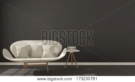 Scandinavian Minimalistic Dark Background, With White Sofa On Herringbone Natural Parquet Flooring,