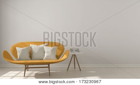 Scandinavian Minimalistic Background, With Orange Sofa On Herringbone Natural Parquet Flooring, Inte
