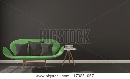 Scandinavian Minimalistic Dark Background, With Green Sofa On Herringbone Natural Parquet Flooring,