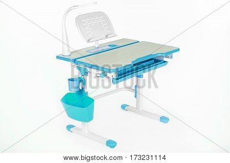 Blue school table blue basket and desk lamp on the white isolated background.