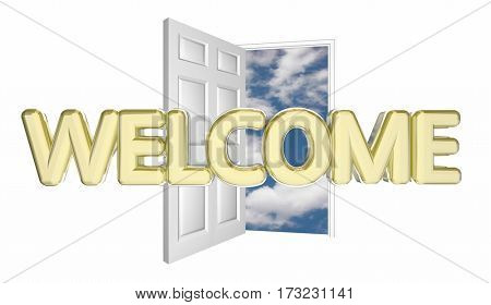 Welcome Door Opening Guest Arrival Introduction 3d Illustration