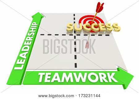 Leadership Teamwork Goals Achieved Success Matrix 3d Illustration