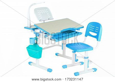 Classical blue chair school table and blue basket on the white isolated background.