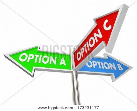 Option A B C Choices Decide Best Way 3 Street Signs 3d Illustration