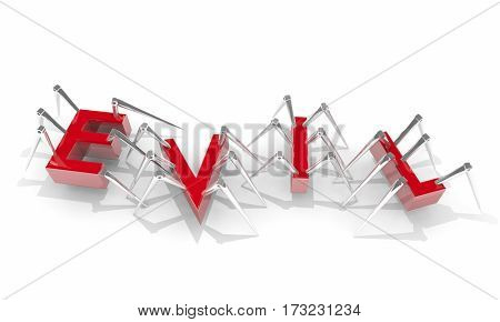 Evil Robots Bad Scary Crawling Letters Word 3d Illustration