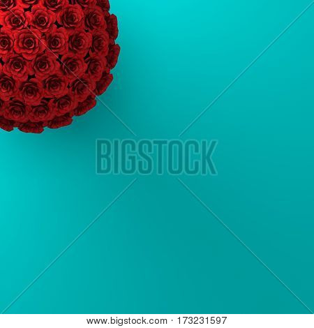 TOP VIEW OF ROSES ON PLAIN AQUAMARINE BACKGROUND