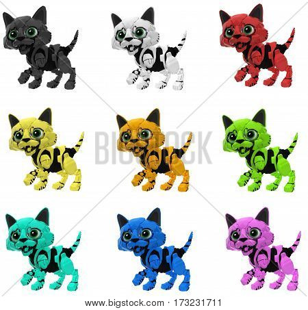 Robotic kitten color variations set 3d illustration horizontal isolated