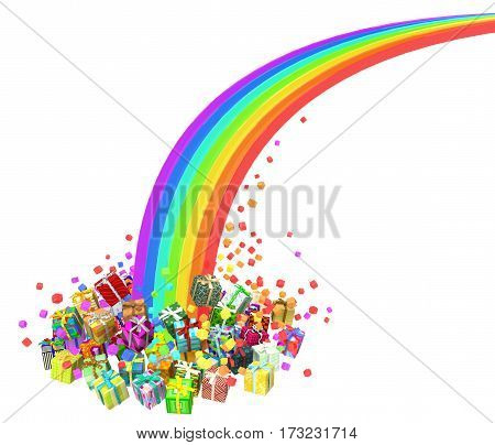 Gift large group 3d illustration rainbow end horizontal isolated over white