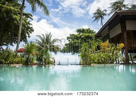 Swimming pool beach Island Koh Phangan Thailand paradise palms