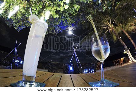 Dinner underneath the stars Surround by palm trees looking beautiful thailand Koh Phangan