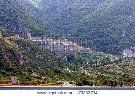 Scenic view of Agiou Pavlou monastery on Mount Athos, Greece