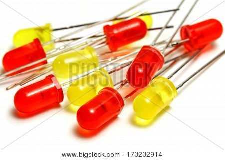 Set of red and yellow LED diodes on a white background