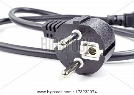 EU plug for power cable on a white background