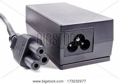 Power supply adaptor with cable on a white background