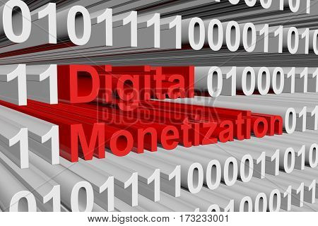 digital monetization is presented in the form of binary code 3d illustration