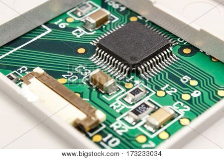 Closeup circuit board with installed electronic components