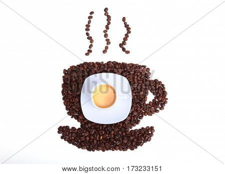 Coffee beans in the form of cup of coffee on the white background.