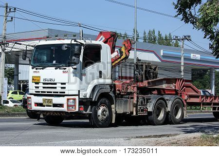 Trailer Truck With Crane Of Chiangmai Pk Transport