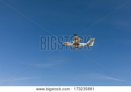 ST. PETERSBURG USA - FEBR 16 2017: Flying hydroplane. Plane Lake on air. Historical airplane.