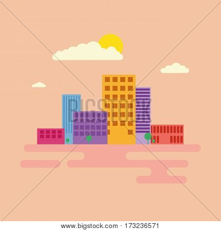Modern city downtown green centre with tall buildings day skyline and clouds sketch abstract flat vector illustration