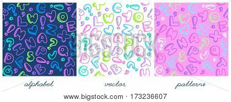 vector hand drawn childish alphabet seamless patterns set
