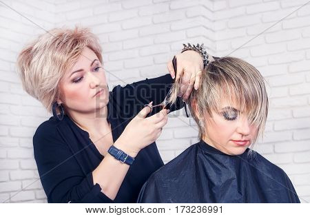 Women's haircut. Hairdresser, beauty salon. Portrait of professional hairdresser middle aged woman making stylish haircut. Process of hair cutting with use thinning scissors