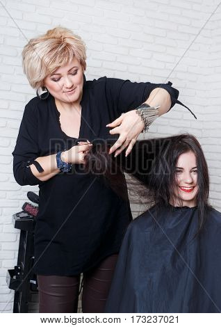 Women's haircut. Hairdresser, beauty salon. Portrait of professional hairdresser middle aged woman making haircut. Stylist straight hair with comb. Hairdresser trimming split ends of hair