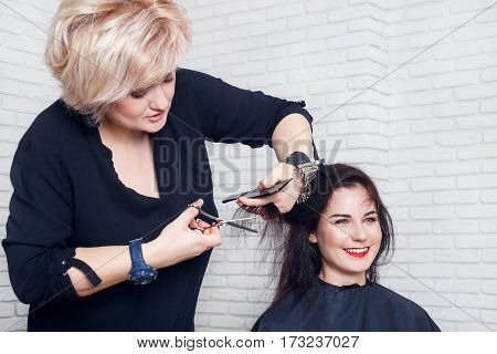 Hairdresser, beauty salon. Portrait of professional hairdresser middle aged woman making stylish haircut. Process of hair cutting with use thinning scissors. Hairdresser trimming split ends of hair