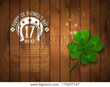 Saint Patrick's Day Banner with Green Four Leaf Clover on Wood. Vector illustration. Party Invitation Design, Chalk Emblem and Typographic Template. Irish Pub Menu Design.